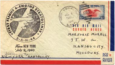 Postal cover from first TWA Boeing 307 Stratoliner flight