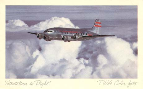 TWA Boeing 307 Postcard from the 1940s