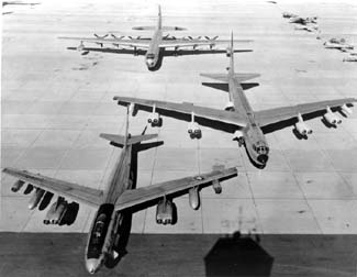 Convair B-36, Boeing B-52B and B-47E at Eglin AFB firepower demonstration