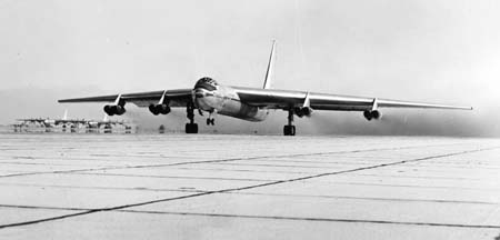 Convair YB-60 takes off from Edwards Air Force Base in January 1953