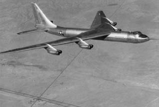 Convair YB-60 in flight over Kramers Junction northeast of Edwards Air Force Base in January 1953.