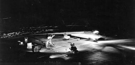 Night shot of Convair YB-60 at Edwards AFB in January 1953