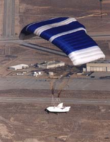 The parafoil of the X-38 has deployed during its second free flight on February 6, 1999