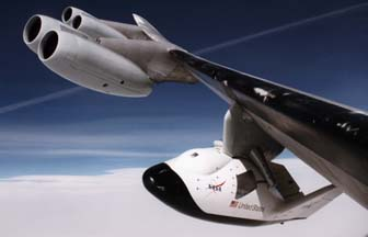 X-38 Crew Return Vehicle, V-131 aloft on a captive carry mission on November 19, 1997