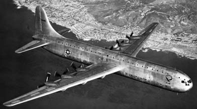 Consolidated-Vultee photo of XC-99 over San Diego