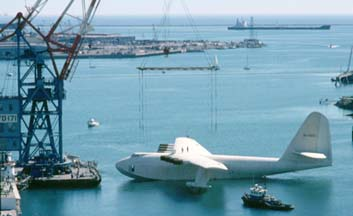 Howard Hughes' Flying Boat awaits lifting by Herman the German